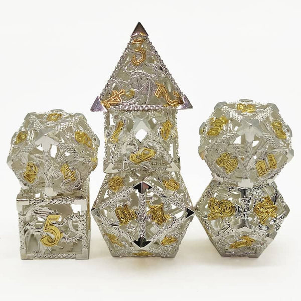 (Elvish White w/gold) Deadly Dragon Dice: Shards of Oblivion Hollow Metal