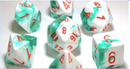Gemini Polyhedral Mint Green-White/orange 7-Die Lab Dice
