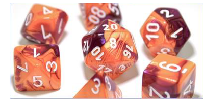 Gemini Polyhedral Orange-Purple/white 7-Die Lab Pre-order *Read Terms in Description*