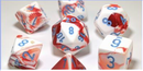 Gemini Polyhedral Red-White/blue 7-Die Lab Pre-order *Read Terms in Description*