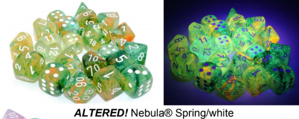 Nebula Spring/white Luminary 7-Dice/16mm/12mm/30mm/Ten10's *PreSale