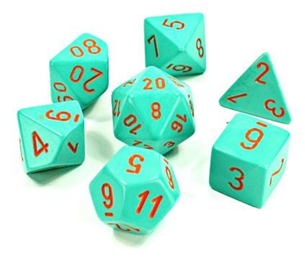 Lab Dice Heavy Dice Polyhedral Turquoise/orange 7-Die Set (30039)