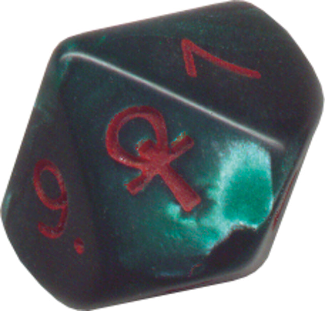 Pearlescent Ankh Numbered 2-10 w/Ankh on one side d10 Green/red numbers