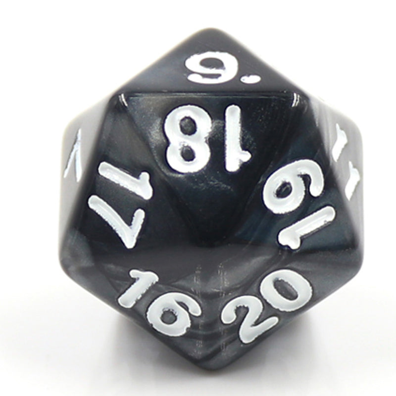 Pearl Black Countdown/Spindown d20 22mm