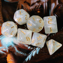 Glitter Party White Glitter Dice (Gold font) 7-Dice Set RPG DND
