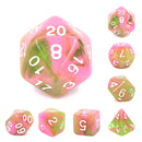 Apple Taffy Lime Green/Pink Glitter/Swirl  7-Dice Set by HendgaDice
