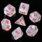 Glitter Party White Glitter Dice (Red font) 7-Dice Set
