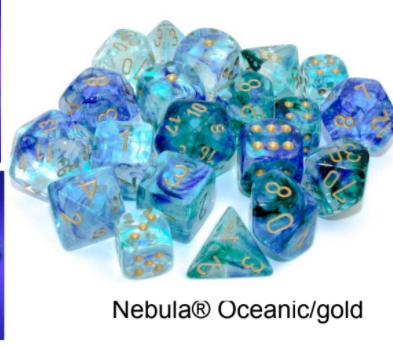 Nebula Oceanic/gold Luminary 7-Dice/16mm/12mm/30mm/Ten10's *PreSale