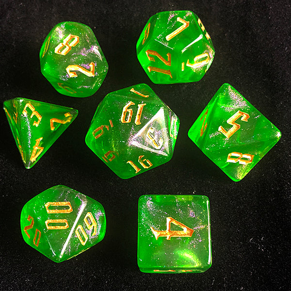 'Glitter Party' Green Glitter Dice (Golden font)