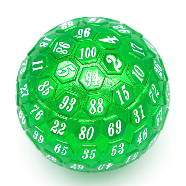 Green Plated Ancient Metal d100 Dungeons and Dragons RPG