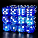 Blue & Blue 16mm Glitter Pipped Dice