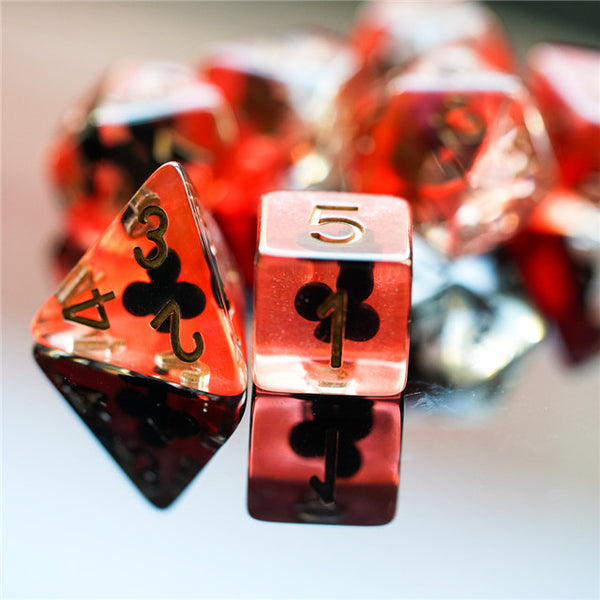 """Clubs"" Shape of My Heart 7-Dice Set"