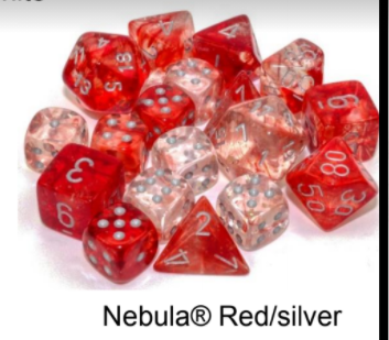 Nebula Red/silver Luminary 7-Dice/16mm/12mm/30mm/Ten10's
