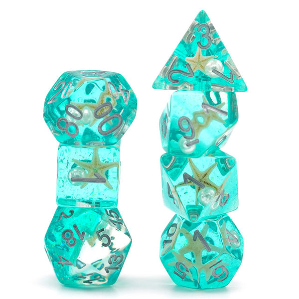 Starfish & Pearl Floating in Green Glitter 7-Dice Set