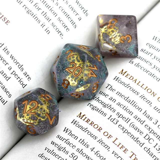 Glitter Mini Gearwheel Dice 7-Dice Dungeons and Dragons RPG