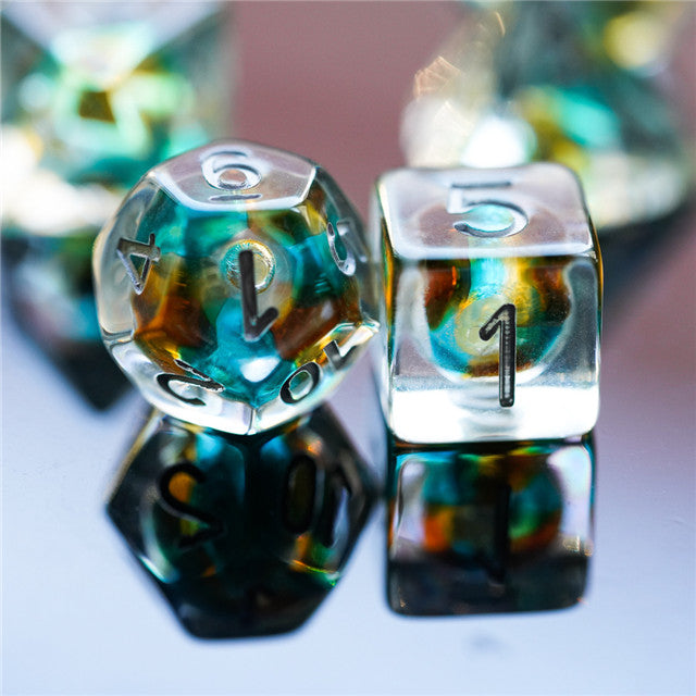 Teal & Orange Colorful Glass Bead Dice 7-Dice Set Resin