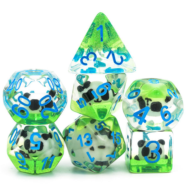 Panda on Green Field w/ Glitter 7-Dice Set