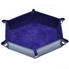 Purple/ Blue Velvet PU Leather Folding Hexagon Dice Tray