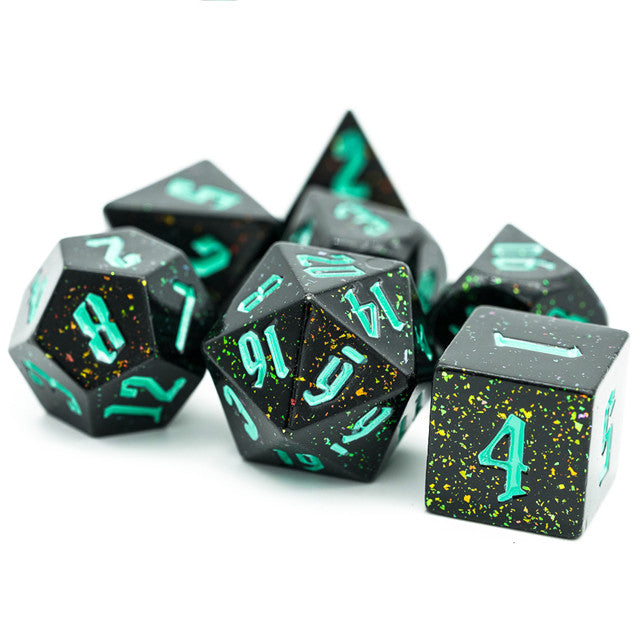 Green Monster Glitter DND Dice (Golden&Green) 7-Dice