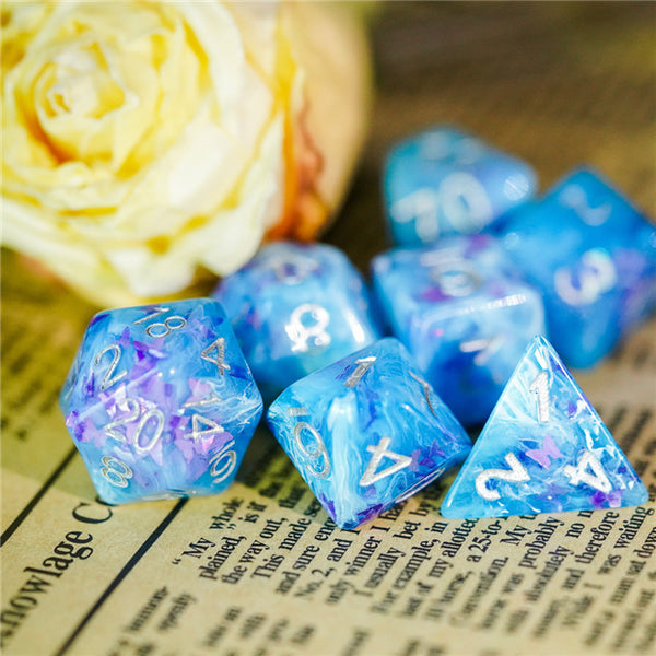 Blue & White w/ Butterfly's inside 7-Dice Set Rpg  (ships week of 10/26)