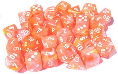 Festive Dahlia/white 7-Die Set Lab Dice
