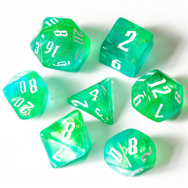 Glitter Party Blue/Green/Yellow Glitter Dice (White font) 7-Dice Set