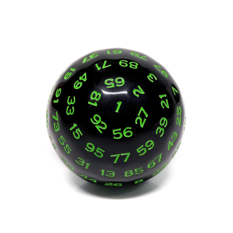 D100-Black Opaque w/Green Numbers
