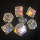 'Glitter Party' Transparent Glitter Dice (Silver font)