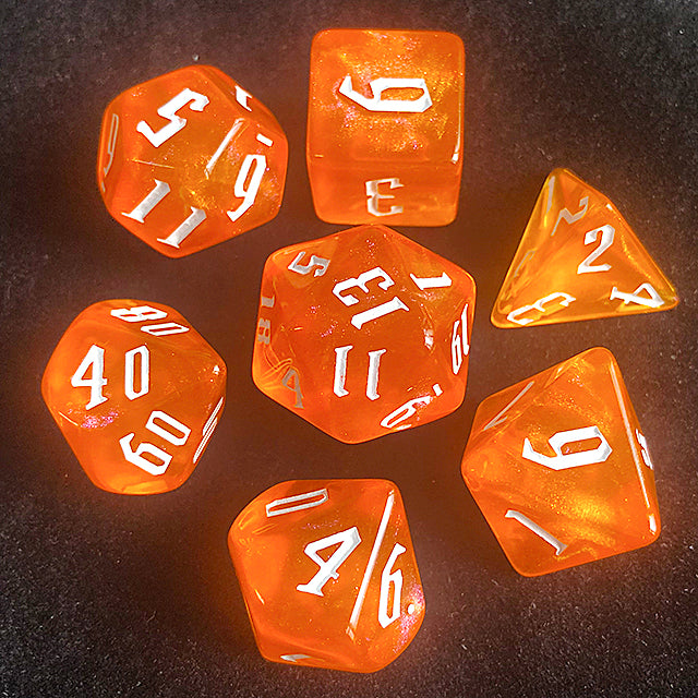 'Glitter Party' Orange Glitter Dice (White font)
