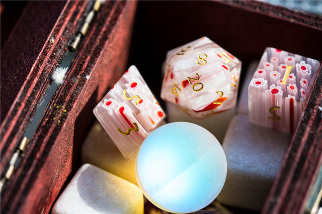 Flower Glass DND Dice Red Limited Edition in Wood Box
