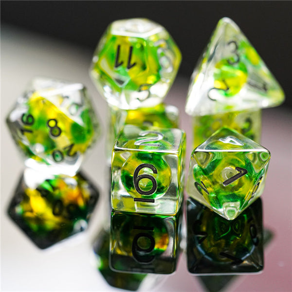 Green & Yellow Colorful Glass Bead Dice 7-Dice Set Resin