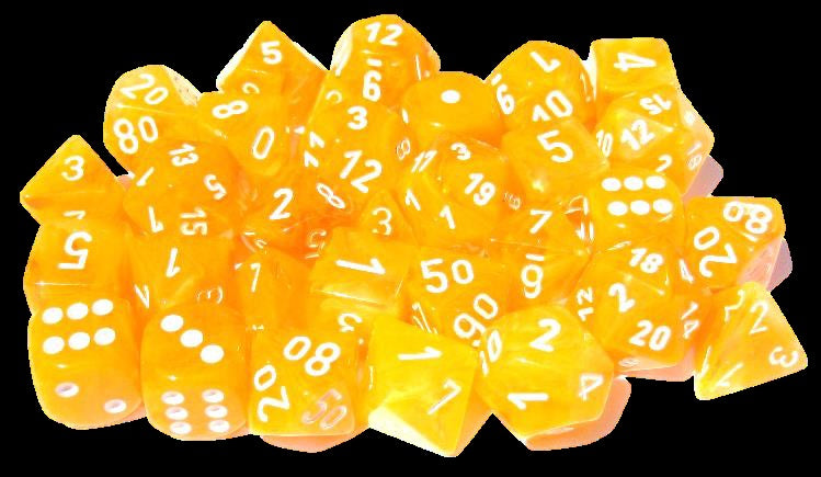 Festive Flare/white 7-Die Set Lab Dice