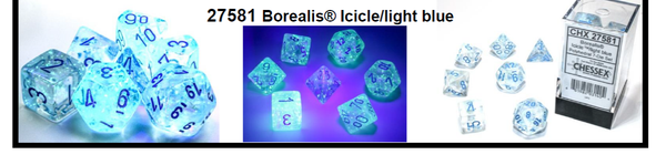Borealis Icicle /light blue 7-Dice / 16mm / 12mm / 30mm Luminary