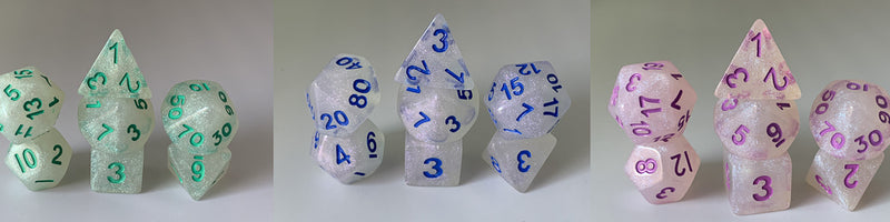 """Intense Sparkles"" 7-Dice Set (Multiple Options)"
