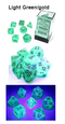 Borealis Light Green /gold 7-Dice / 16mm / 12mm (Releases Late November) Luminary