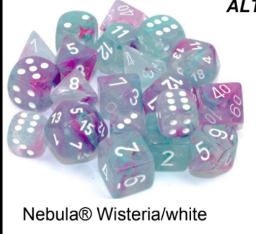 Nebula Wisteria Blue/Purple Luminary 7-Dice/16mm/12mm/30mm/Ten10's