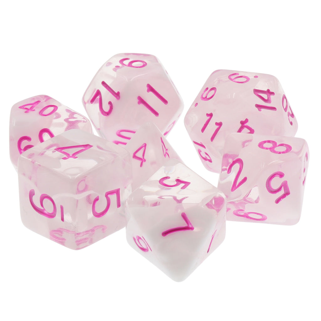 Cloudy Passion Translucent White Swirl Poly Dice Set with Pink (7) RPG DnD HdDice