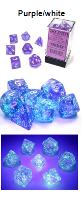 Borealis Purple/white 7-Dice / 16mm / 12mm (Releases Late November) Luminary