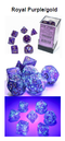 Borealis Royal Purple/gold 7-Dice / 16mm / 12mm /30mm Luminary