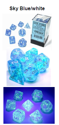 Borealis Sky Blue/white 7-Dice / 16mm / 12mm (Releases Late November) Luminary