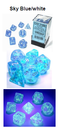 Borealis Sky Blue/white 7-Dice / 16mm / 12mm / 30mm Luminary