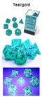 Borealis Teal/gold 7-Dice / 16mm / 12mm / 30mm Luminary
