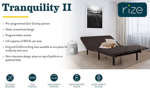 Rize Tranquility II Adjustable Bed Base - Free Local White Glove Delivery
