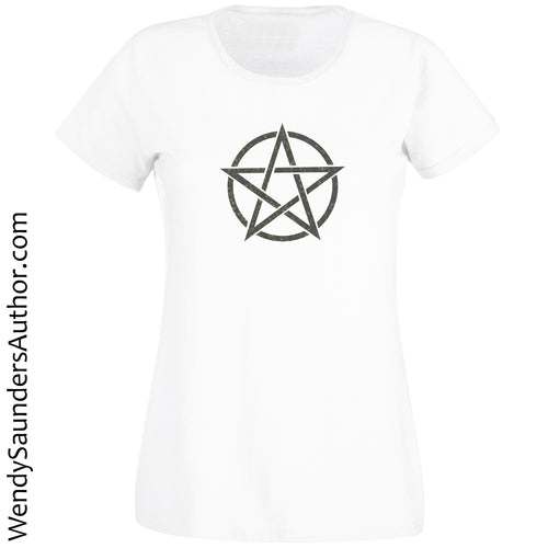 Black Pentagram Ladies T-Shirt