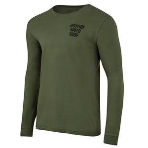 Spitfire Long Sleeve Tee Khaki Green With Black Logo