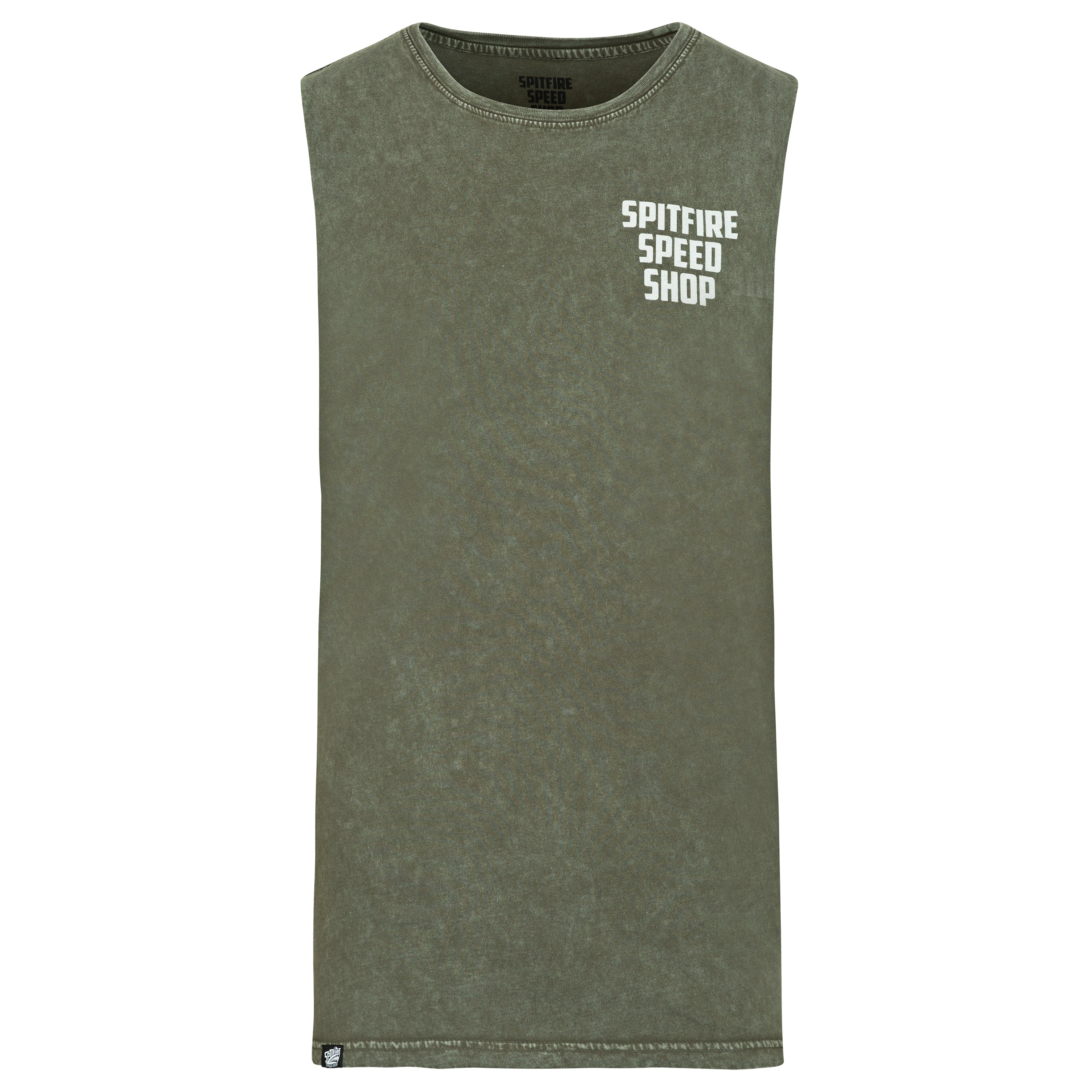 Spitfire Whitewash Vest, Olive Green with White Logo