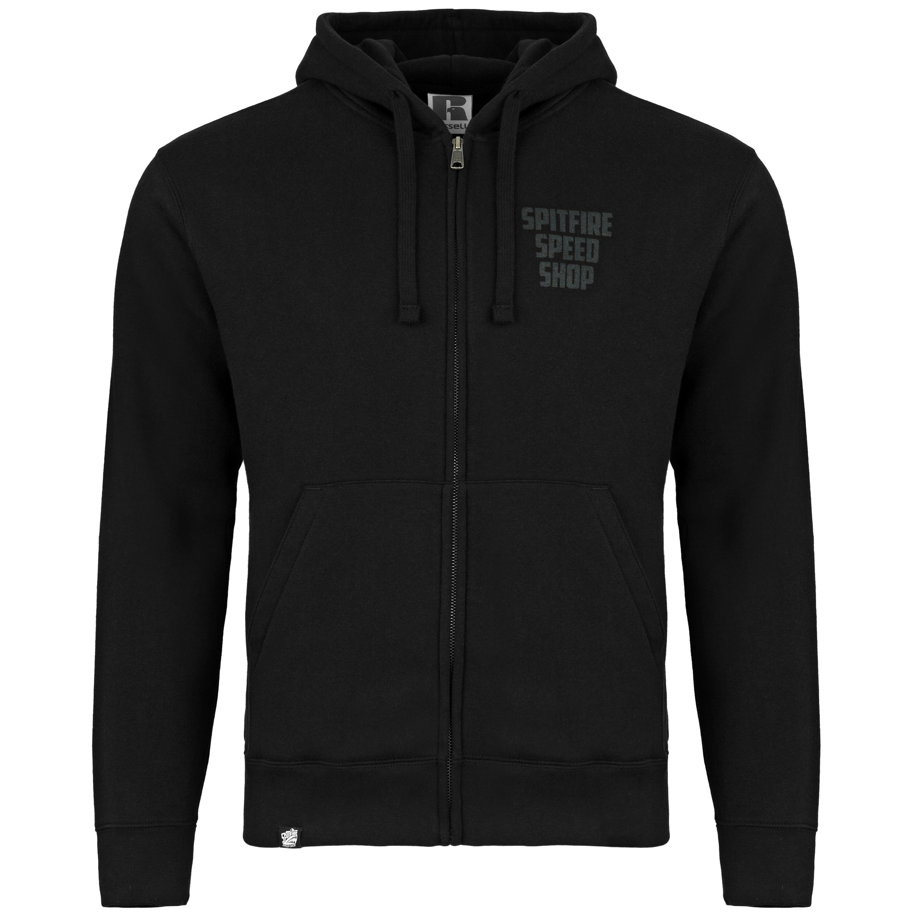 Spitfire Zipped Hoodie Black With Black Logo