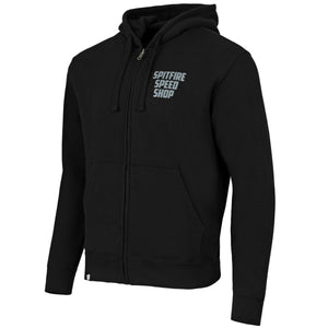 Spitfire Zipped Hoodie Black With Grey Logo