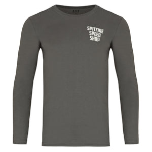 Spitfire Long Sleeve Tee Grey With Burnout Printed Logo