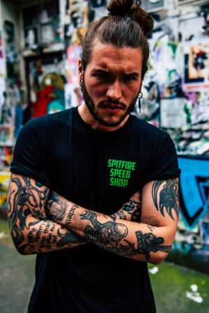 Spitfire Tee Black With Green Logo